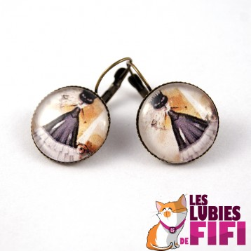 Boucle d'oreille chat : chat malin n°08