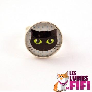 Bague chat : chat noir sur fond bleu à pois