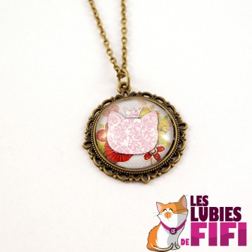 Collier chat : chat liberty et sa couronne rose