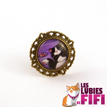 Bague chat : profil chat noir sur fond rose et bleu