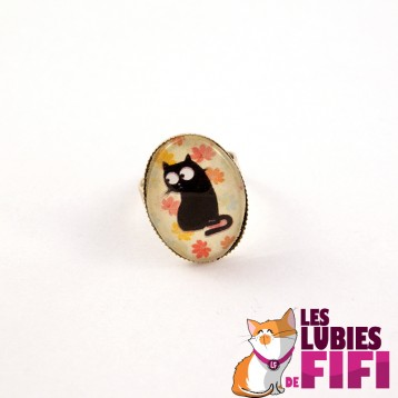 Bague chat : chat noir et feuilles oranges