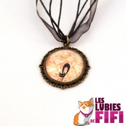 Collier chat : chat noir et liberty orange