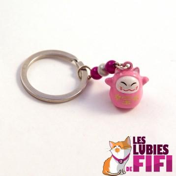 Porte-clé chat : Maneki Neko rose et blanc