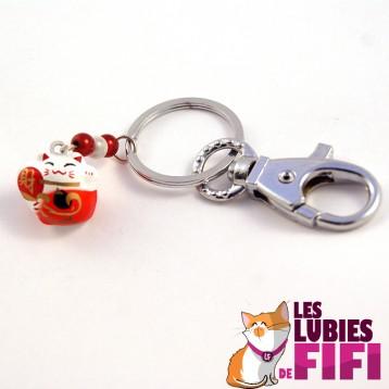 Porte-clé chat : Maneki Neko rouge et blanc