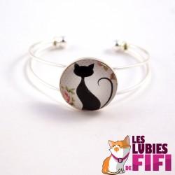 Bracelet chat : le chat noir et la rose