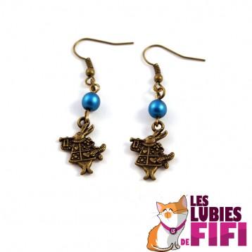 Boucles d'oreille lapin d'Alice au pays des merveilles version bleue