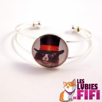 Bracelet chat steampunk : le chat et son haut de forme bleu