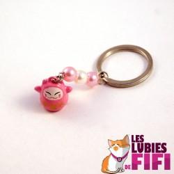 Porte-clé chat : Maneki Neko rose et blanc N°02