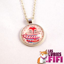 Collier chat : Noisette et tea time