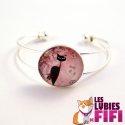 Bracelet chat steampunk : le chat et son haut de forme à ruban rouge