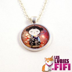 Collier kokeshi : Washi Doll n°13