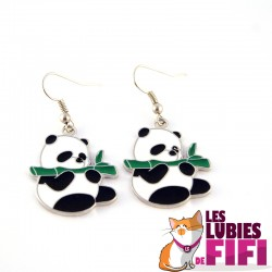 Boucles d'oreille panda : le panda et son bambou