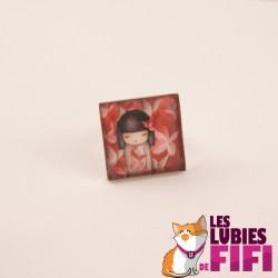 Bague kokeshi : washi et son kimono rouge