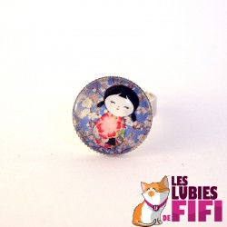 Bague kokeshi : washi doll n°02