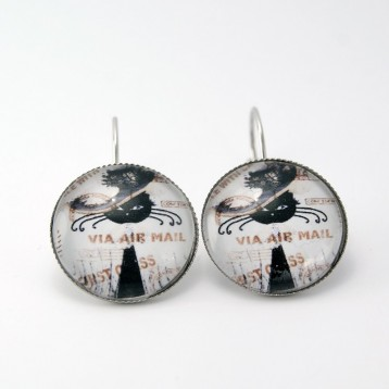 Boucles d'oreille cabochon collection chat :  chat malin n°11