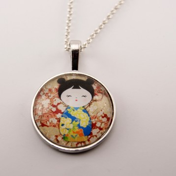 Collier kokeshi : Washi n°01
