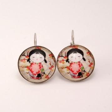 Boucles d'oreille kokeshi : washi n°06