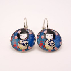 Boucles d'oreille kokeshi : washi n°04