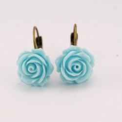 Boucles d'oreille fleurs : fleurs turquoises