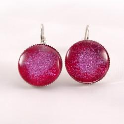 Boucles d'oreille pailletée : rose bonbon