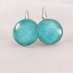 Boucles d'oreille pailletées : mer étoilée turquoise