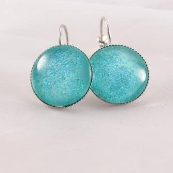 Boucles d'oreille pailletée : mer étoilée turquoise