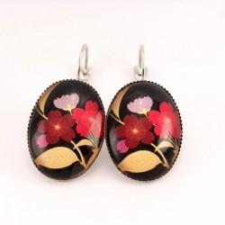 Boucles d'oreille fleurs : fleurs japonaises roses