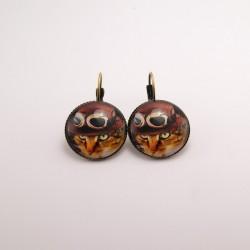 Boucles d'oreille chat steampunk : chat et ses lunettes