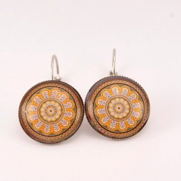 Boucles d'oreille mandala : oriental mandala orange