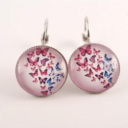 Boucles d'oreille papillons :  papillons roses et bleus