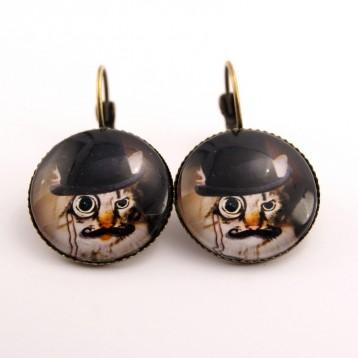 Boucles d'oreille chat steampunk : chat et son monocle