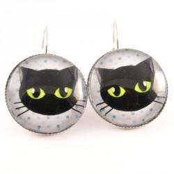 Boucles d'oreille chat : chat noir sur fond blanc à pois