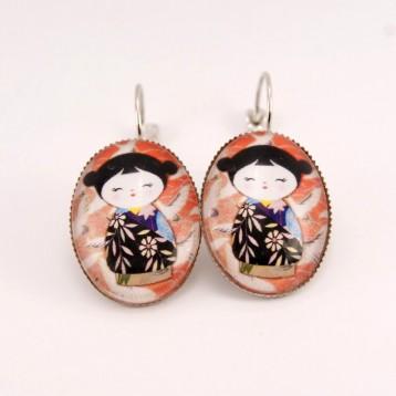 Boucles d'oreille kokeshi : kokeshi washi n°02