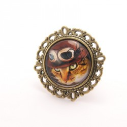 Bague chat : chat steampunk roux