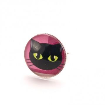 Bague chat : chat noir sur fond rose