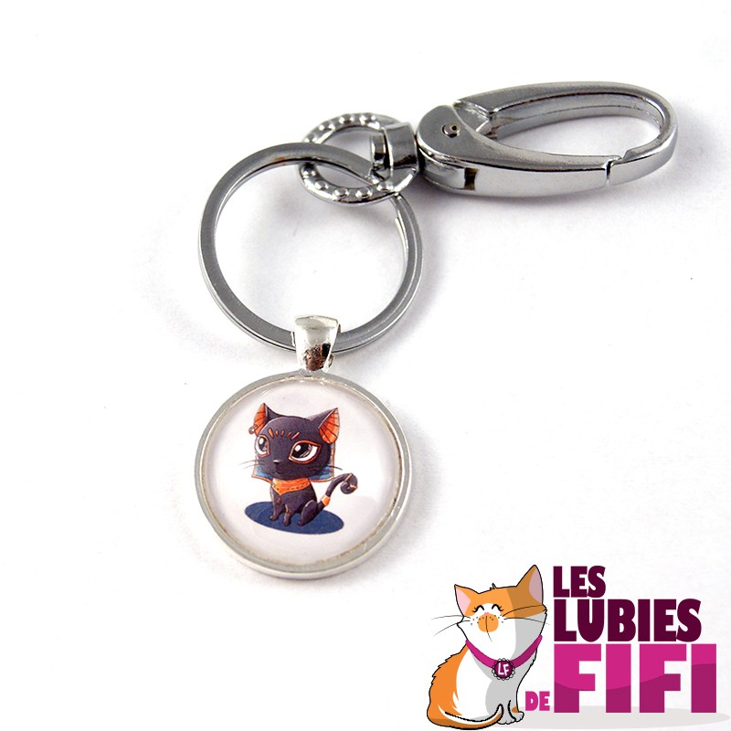 Porte-clé chat : Bastet couleur orange