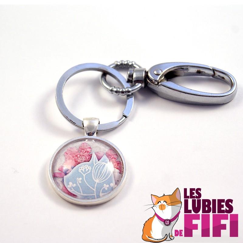 Porte-clé chat : chat liberty version bleue