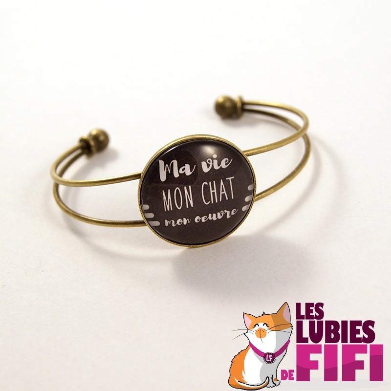 Bracelet chat : Ma vie, mon oeuvre bronze