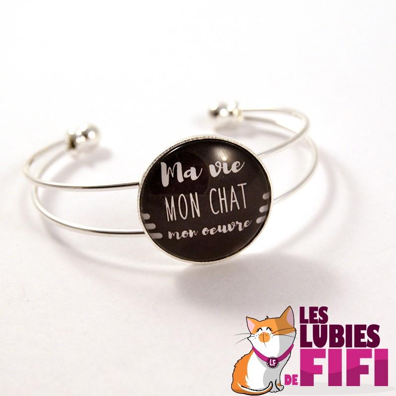 Bracelet chat : Ma vie, mon oeuvre argenté