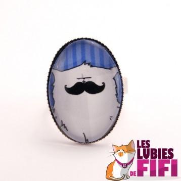 Bague Chat : Mrou le Chat à Moustache version bleu