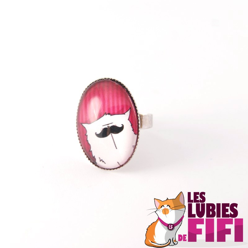 Bague Chat : Mrou le Chat à Moustache version fuschia